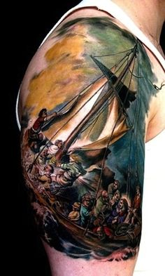 "41 Incredible Tattoos Inspired By Works Of Art ""War and Peace,"" by Pablo Picasso"