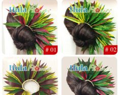 Silk leaves braided with raffia for Half Bun or Ponytail for Hula dancer accessories or gift idea, LB-04