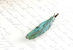 Feather Bobby Pin, Verdigris Patina feather, Nature Hair Accessories, Teal Blue, Turquoise, Antique Brass, rustic, woodland, natural history