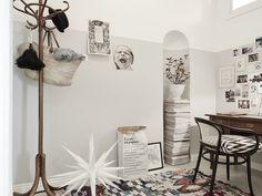 Scandinavian interior design, living in small spaces, study in hallway