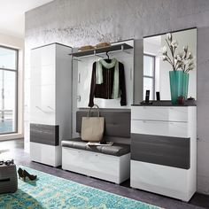 Garderobenset Exterior (5-teilig) - Hochglanz Weiß / Grau