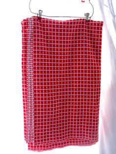 Vintage RedWhite Tablecloth Woven Picnic Retro Farm by tessiemay, $31.00