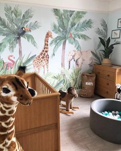 Introduce an engaging art piece into your child's nursery with our Watercolour Jungle Nursery Wall Mural. This wallpaper features a jungle theme that is suitable décor for either gender. Baby Boy Room Decor, Baby Room Design, Baby Boy Rooms, Baby Boy Nurseries, Safari Room Decor, Safari Bedroom, Baby Boy Nursery Themes, Tier Wallpaper, Animal Wallpaper