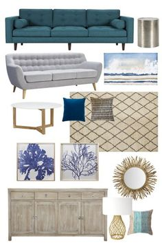 A modern coastal mood board by A house full of sunshine for Practically Functional