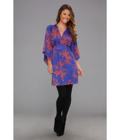 Deep V-Neck Kimono Sleeve Mini Dress w/ Tie Waist