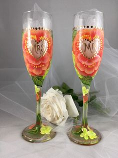Bride and groom glasses hand painted set of two for Mr. and Mrs. Wedding toasting flutes