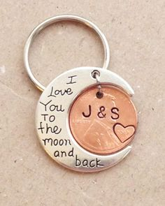 """This keychain would be the perfect gift to give your significant other for your wedding, anniversary, birthday, or just to show her you love her. The moon has """"I Love You to the moon and back"""" stamped on it, and we customize the penny with any 2 initials Bf Gifts, Boyfriend Gifts, Gifts For Him, Girlfriend Gift, Boyfriend Girlfriend Tattoos, Girlfriend Birthday, Husband Birthday, Funny Gifts, Anniversary Gifts For Husband"""