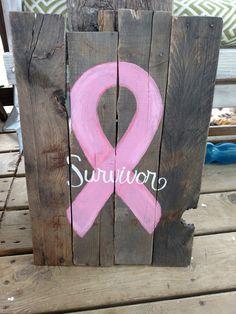 Breast cancer sign. Survivor. Pink ribbon. Pallet wood. Custom made. Any color ribbon