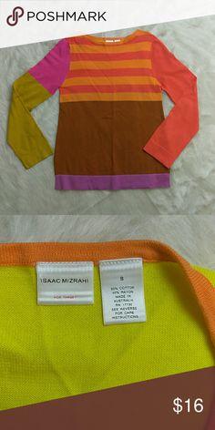 "Isaac Mizrahi for Target Sweater Size Small Isaac Mizrahi for Target Sweater lightly used.   Colors Light orange, orange, pink, mustard, lilac and brown.  Measurements Arm pit to armpit: 17"" Length: 25"" Isaac Mizrahi Sweaters Crew & Scoop Necks"