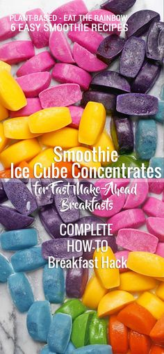 My Smoothie Ice Cube Brick Concentrates  Fast make-ahead smoothie hack! Six recipes! #smoothiehack #breakfasthack #makeahead #icecubes