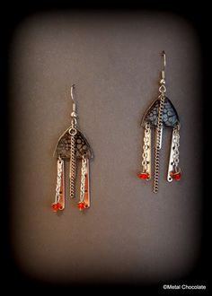 Silver Rocket Handmade Crystal Dangle Earrings- original design by MetalChocolate on Etsy