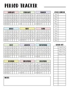 Period Tracker Menstrual Cycle Tracker Printable