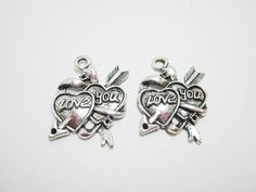 2 Love You Hearts with Arrow Charms Valentine's by WhispySnowAngel, $1.40