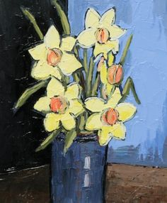Daffodils and Blue Vase by David Barnes, oil, 12 x 10 inches | Red Rag Gallery