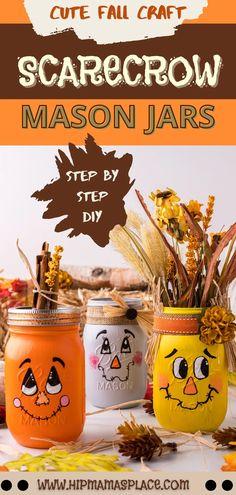 Fall Mason Jars, Halloween Mason Jars, Mason Jar Crafts, Mason Jar Diy, Halloween Door, Diy Scarecrow, Holiday Crafts For Kids, Holiday Ideas, Halloween Crafts For Kids To Make