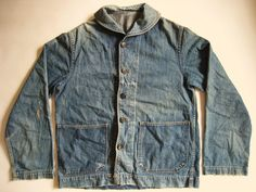WWII USN denim shawl collar deck jacket w/ removable Bakelite anchor buttons.