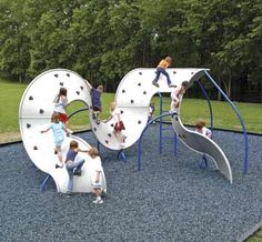 The Mobius® Climber from Landscape Structures is public art, outdoor play fun. It's a visually interesting way to energize your park, playground or public space. A great example of commercial playground equipment. Playground Design, Backyard Playground, Children Playground, Plastic Playground, Playground Ideas, Backyard Ideas, Park Playground, Landscape Structure, Landscape Design