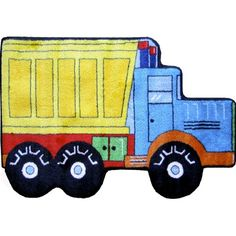 Make your child's space more fun with the Dump Truck Accent Rug from Fun Rugs. This dump truck-shaped rug with vibrant colors in a durable, high-pile quality adds exciting style and cushiony comfort to his or her room or play area. Dump Furniture, High Pile Rug, Machine Made Rugs, Dump Truck, Cool Rugs, Accent Rugs, Mild Soap, Throw Rugs, Beige Area Rugs