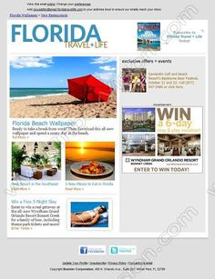 Company:    Florida Travel Life   Subject:    Free Beach Wallpaper, Best Florida Resort + 5 New Restaurants             INBOXVISION is a global database and email gallery of 1.5 million B2C and B2B promotional emails and newsletter templates, providing email design ideas and email marketing intelligence http://www.inboxvision.com/blog