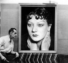 Man Ray~ Art Photographer~ sits beside a portrait of his lost muse and love, Kiki de Montparnasse, Paris, Lee Miller, Harlem Renaissance, Alexander Calder, Man Ray Photographie, Kiki De Montparnasse, Hans Richter, The Dark Side, Francis Picabia, Tina Modotti