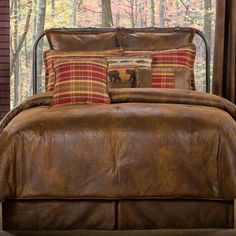rustic chocolate bedding | Gatlinburg Faux Leather Comforter Bedding will bring rustic appeal to ...