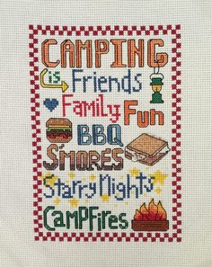 Camping Words Counted Cross Stitch by Camp Cross Stitch