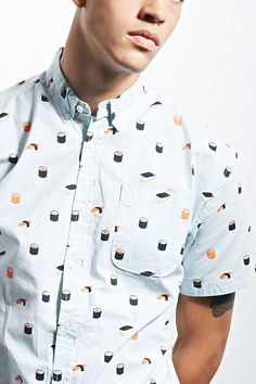 Clothing. Button up. Short sleeve. Light blue. Sushi. Pocket.