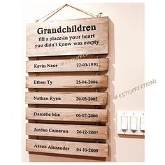Custom wooden Grandparents sign with grandkids names and