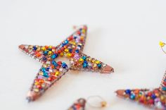3 Star of Bethlehem Seed Bead Ornaments by RamseyRamble on Etsy