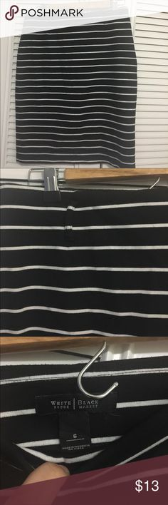 White House Black Market pencil skirt White House Black Market pencil skirt. Black and white striped stretch skirt. Belt loops, no belt included. Good condition. Very cute and super versatile. Can be dressed up for the office or dressed down for running errands on the weekends. Used. White House Black Market Skirts Pencil