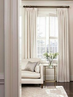 I love this room! // This rug // Combining plantation shutters with curtains privacy cosiness warmth Curtains With Plantation Shutters, Curtains With Blinds, White Curtains, Tall Curtains, Blinds Diy, Patio Blinds, Layered Curtains, Bamboo Blinds, Windows