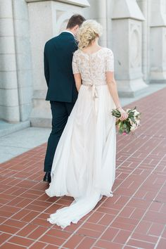modest wedding dress with half sleeves from alta moda. -- (modest bridal gown) . Photo by Travis Richardson