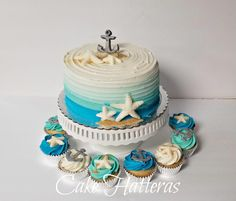 Nautical Birthday Cake and Cupcakes by Donna Tokazowski- Cake Hatteras Hatteras N. Nautical Birthday Cakes, Beach Themed Cakes, Nautical Cake, Themed Birthday Cakes, Beach Cake Birthday, Nautical Wedding Cupcakes, 50th Birthday, Wedding Cakes, Fondant Cupcakes