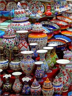 Photo Bunch Of Colorful Pottery In The Shop Royalty Free Stock Photo, Pictures, Images And Stock Photography. Image Of Colorful Pottery In The Shop Royalty Free Stock Photo, Pictures, Images And Stock Photography. Talavera Pottery, Ceramic Pottery, Ceramic Art, Blue Pottery, Iranian Art, Thinking Day, Mexican Art, Armenia, Bunt