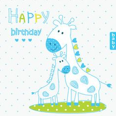 Vector illustration with cute giraffes
