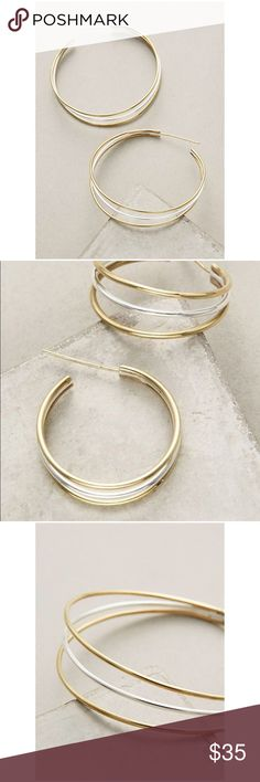 "Anthropologie Tri-Strand Gold Plated Hoop Earrings Tri-strand Hoop Earrings by Lena Bernard Anthropologie ❤️ Brass, sterling silver plating, 18k Gold Plating, imported. 2.5""L, 0.75""W . Brand New Anthropologie Jewelry Earrings"