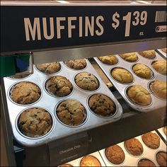 Part outfitting, part merchandising theatrics, This Muffin-Pan-Propped Bakery Stand Display looks fresh-baked and wholesome indeed. Breakfast Bake, Freshly Baked, Served Up, Baking Pans, Farms, Baked Goods, Muffins, Bakery, Oven