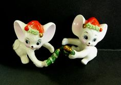 Vintage Pair Mice Napcoware Christmas Figurines Candle Climbers Miniature Bone China Hand Painted Spaghetti Ware Collectible Holiday Gift