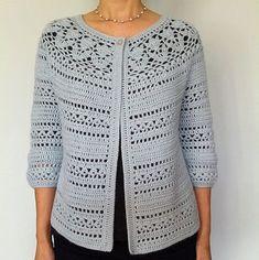 Ravelry: Irene - floral lace yoke cardigan pattern by Vicky Chan - Salvabrani Gilet Crochet, Crochet Coat, Crochet Cardigan Pattern, Crochet Blouse, Crochet Shawl, Crochet Clothes, Shawl Patterns, Crochet Fashion
