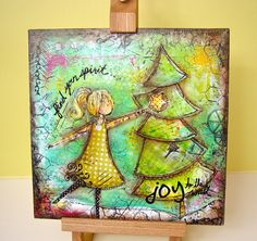 christmas mixed media canvas by busygirlart on Etsy