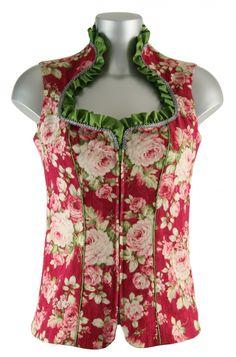 Wunderschönes, neu designtes Stehkragen Baumwollmieder von Ellersdorfer Design in rotem Farbton mit floralem Blumenmuster. Dieses edle Mieder besticht durch Eleganz und Schlichtheit. Das Mieder ist vorne mit einem Reißverschluss zu schliessen [Unser Preis: 198,00€]