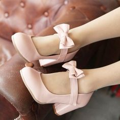 Sweet Color Candy Womens Mary Janes Pumps Heel Lolita Bowknot Shoes Pink