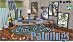 """Sims 4 CC's - The Best: """"Cats & Dogs"""" Paintings by Annett85"""