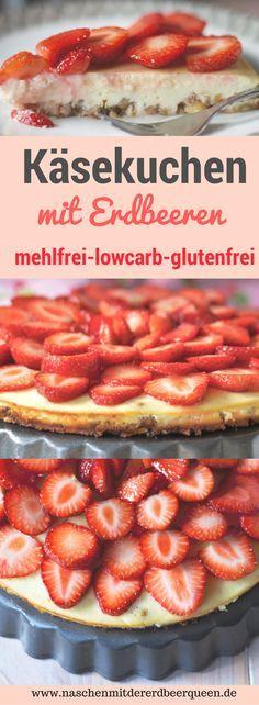 So backst du einen schnellen Käsekuchen mit Erdbeeren. Der Boden besteht aus Mandeln ist mehlfrei und glutenfrei. Köstlicher Holunderblütensirup macht den Kuchen besonders saftig und passt wunderbar zu Erdbeeren. Weitere Erdbeerrezepte findest du auf meinem Blog www.naschenmitdererdbeerqueen.de #lowcarb #cheesecake #erdbeerkuchen