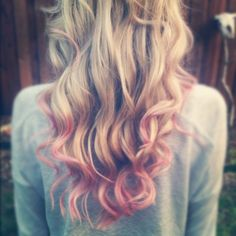 waves. hair. ombre. pink. blonde.