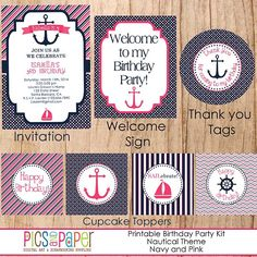 pink and navy nautical theme | Nautical Birthday Party Kit-Girl-Navy Blue and Pink