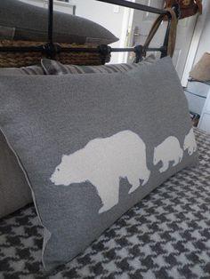 Hand printed  arctic grey polar bear family cushion cover.