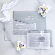 Vellum Wedding Invitation, Vellum Invitation, White Ink Vellum Invitation, Elegant Vellum Invitation, Transparent Paper Invitation - DEPOSIT