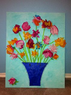 Paper flowers created by 1st graders; Silent Auction Spring 2011, by Julie Dineen-Swartz.  - this is BEAUTIFUL.  Thank you for Sharing!  I want one of our classes to make this so I can buy it!