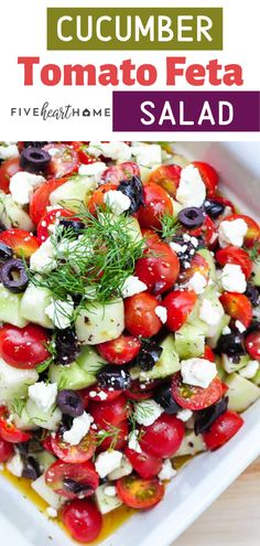 An easy healthy salad recipe with feta cheese with 3 simple steps! Cucumber Tomato Feta Salad is as tasty as it is beautiful. It is a great addition to your meals or holiday parties. Save this pin for later! for parties Cucumber Tomato Feta Salad Cucumber Recipes, Easy Salads, Healthy Salad Recipes, Simple Salad Recipes, Salad Recipes For Parties, Tomato Salad Recipes, Juicer Recipes, Cucumber Tomato Feta Salad, Salad With Feta Cheese